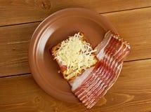 Cheese toast with piece  bacon Stock Photos