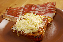 Cheese toast with piece  bacon Royalty Free Stock Image