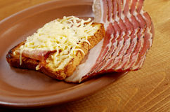Cheese toast with piece  bacon Stock Image