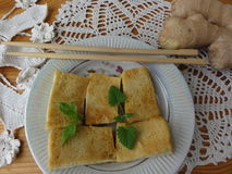 Cheese tofu mint ginger cooking. Healthy food for diet and vegetarian stock images