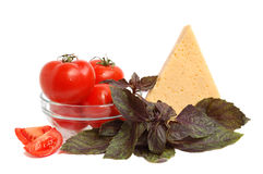 Cheese, tomato and basil Stock Photography