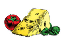 Cheese with tomato and basil Stock Photography