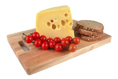 Cheese with tomato and bread Stock Photos