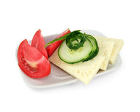 Cheese, tomato and cucumber Royalty Free Stock Photos