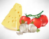 Cheese tomato and garlic Stock Images