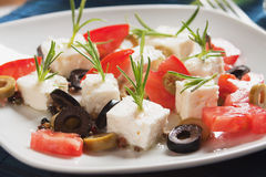 Cheese, tomato and olive salad Stock Photography