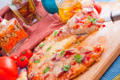 Cheese and tomato pizza Stock Image