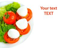 Cheese with tomato and salad. Mozarella with tomato and salad on white plate Royalty Free Stock Photos