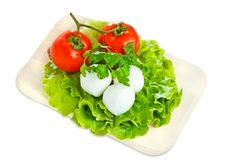 Cheese with tomato and salad. Mozarella with tomato on  wood board Stock Photo
