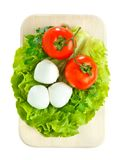 Cheese with tomato and salad. Mozarella with tomato on  wood board Royalty Free Stock Photography