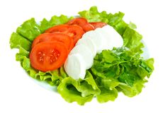 Cheese with tomato and salad. Mozarella with tomato and salad on white plate Stock Photo