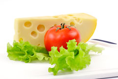 Cheese, tomato and salad sheet stock image