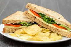 Cheese and tomato sandwich Royalty Free Stock Images