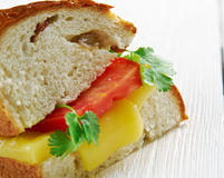 Cheese and tomato sandwich Stock Photos