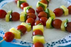 Cheese and tomato skewers royalty free stock image