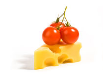 Cheese with tomatoes Stock Images