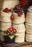 Cheese, tomatoes and grapes royalty free stock photos
