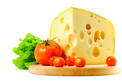 Cheese, tomatoes and lettuce. On white background Stock Image