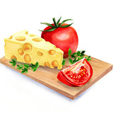 Cheese with tomatoes on wooden board Stock Image