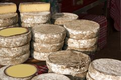 Cheese tomes des Bauges, french production  (France) Stock Photos