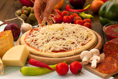 Cheese on top of the pizza Stock Photography
