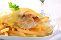 Cheese topped fish fillets with French fries Stock Image