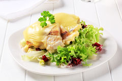 Cheese topped fish fillets with salad Stock Image