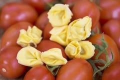 Cheese tortellini with fresh tomato sauce. Cheese tortellini pasta with  tomato sauce made with fresh tomatoes Stock Image