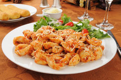 Cheese tortellini with salad Stock Photography