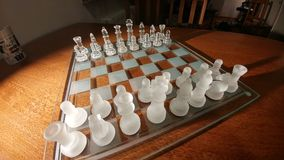 Cheese. Transparent glass chess Royalty Free Stock Photos
