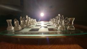 Cheese. Transparent glass chess Stock Images
