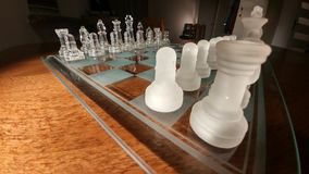 Cheese. Transparent glass chess Stock Image