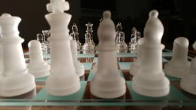 Cheese. Transparent glass chess Royalty Free Stock Photo