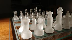 Cheese. Transparent glass chess Stock Photo