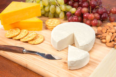 Cheese tray with fruit Stock Photo