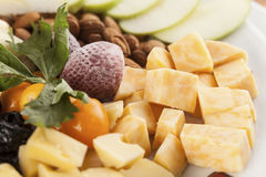 A cheese tray with fruit food party Royalty Free Stock Photo