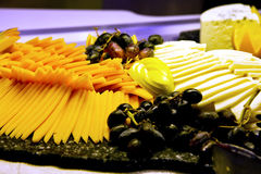 Cheese Tray with Grapes Stock Photo
