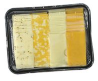 Cheese tray slices. In a vacuum package Royalty Free Stock Image