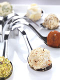 Cheese truffles. Six different appetizers served in a modern style stock photography