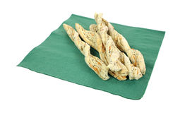 Cheese Twist Snacks Green Napkin Angle Royalty Free Stock Photo