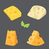 Cheese types . cartoon style vector illustration icons. Cheese types . cartoon style vector illustration icons Stock Images