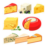 Cheese types. Icons isolated on white background Stock Photos