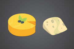 Cheese types . Modern flat style realistic vector illustration icons. Isolated parmesan or cheddar fresh. Cheese types. Modern flat style realistic vector Royalty Free Stock Images