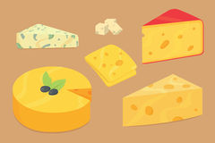 Cheese types . Modern flat style realistic vector illustration icons. Isolated parmesan or cheddar fresh on white Royalty Free Stock Photography