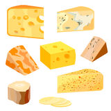 Cheese types. Modern flat style realistic vector illustration icons isolated on white background. Cheese types. Modern flat style realistic vector illustration Royalty Free Stock Photos