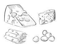 Cheese types set of sketches mozzarella. Cheese types. Delicious fresh cheese variet cheese making various types of cheese set of  sketches mozzarella cheese Stock Photography