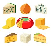 Cheese types and slices. Cheese. cheeses types and slices delicatessen groceries isolated on white, gouda and feta, parmigiano and cheddar, gorgonzola and Stock Photos