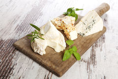 Cheese variation, rustic style. Stock Image