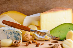 Cheese variety. Background with cheese variety on a wooden board Royalty Free Stock Images