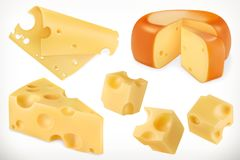 Cheese. Vector icon set. Cheese. 3d vector icon set Stock Photos